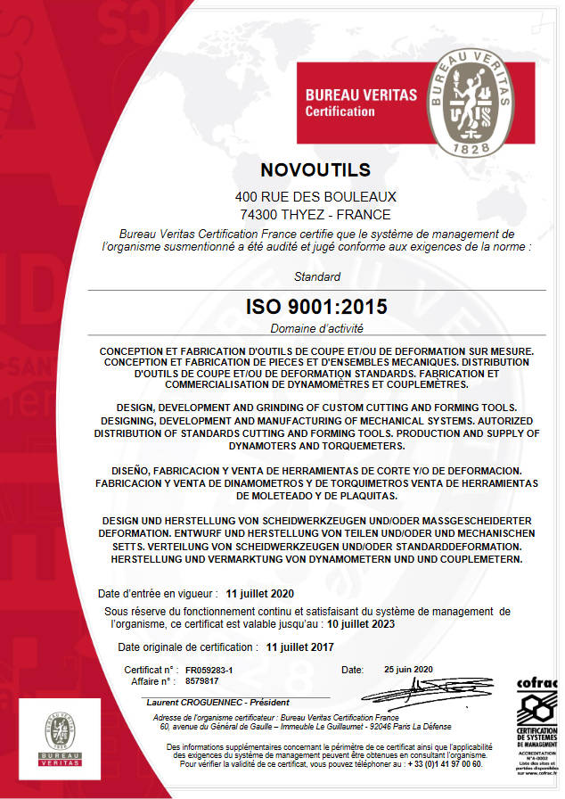 Quality certificate ISO 9001-2015 for custom-made cutting tools, forming tools