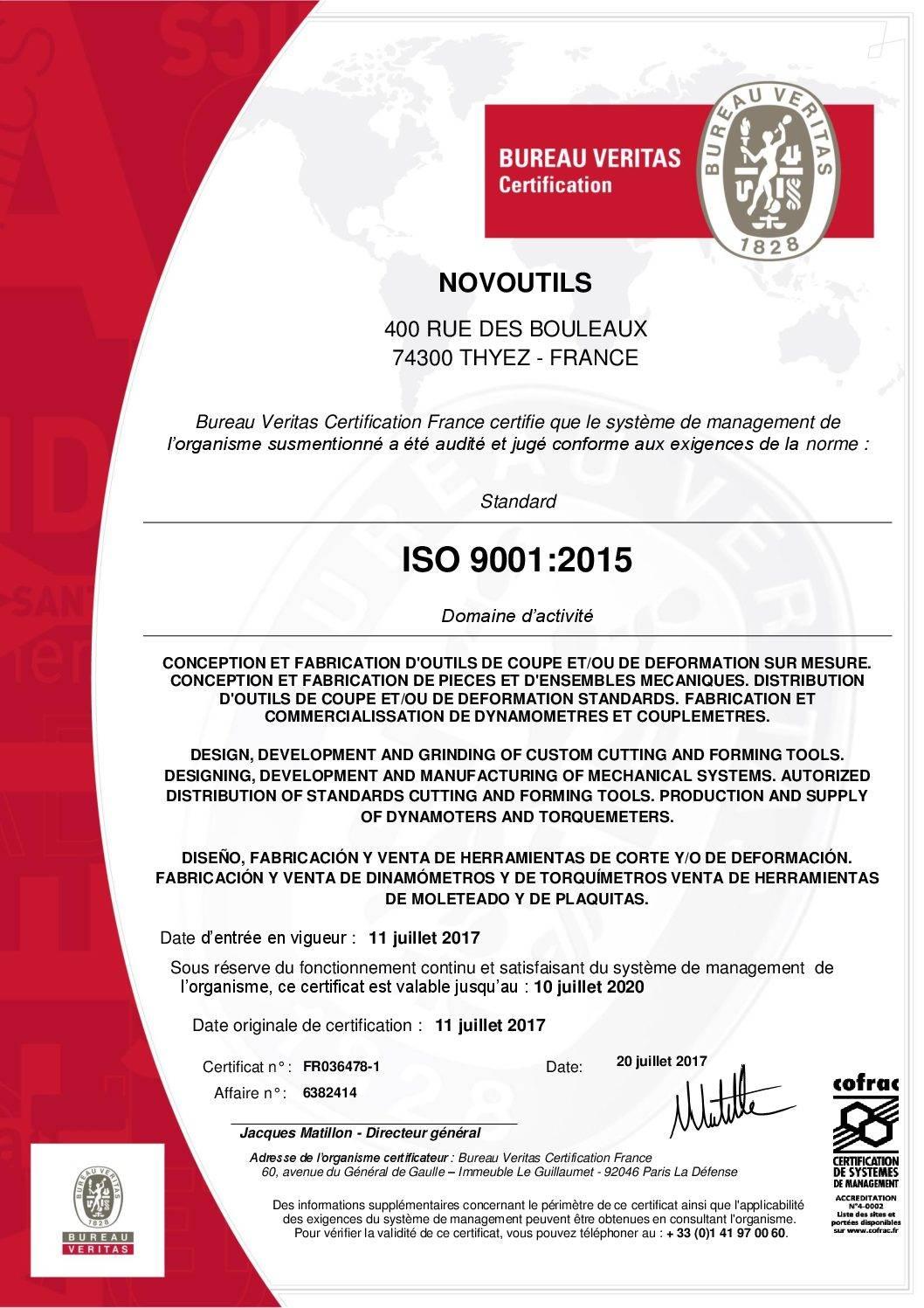 Certification Qualité ISO9001 Novoutils